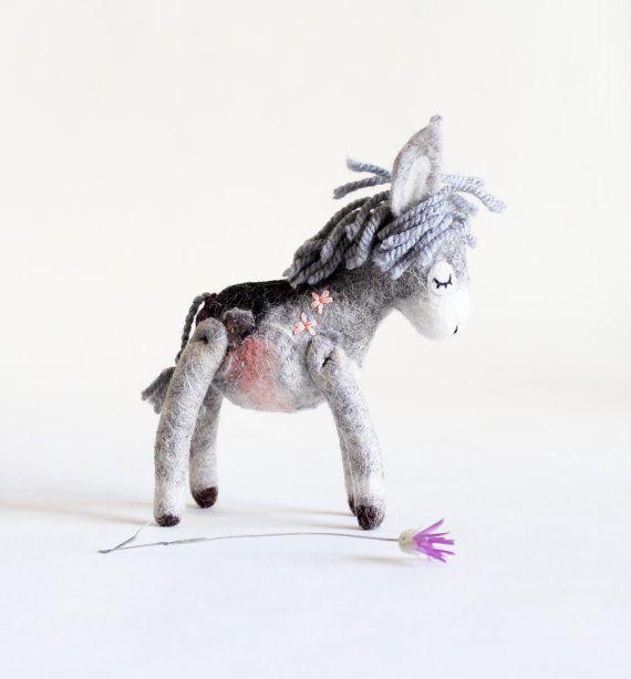 Custom order.   Theodor  Mini Felt Donkey. Art by TwoSadDonkeys
