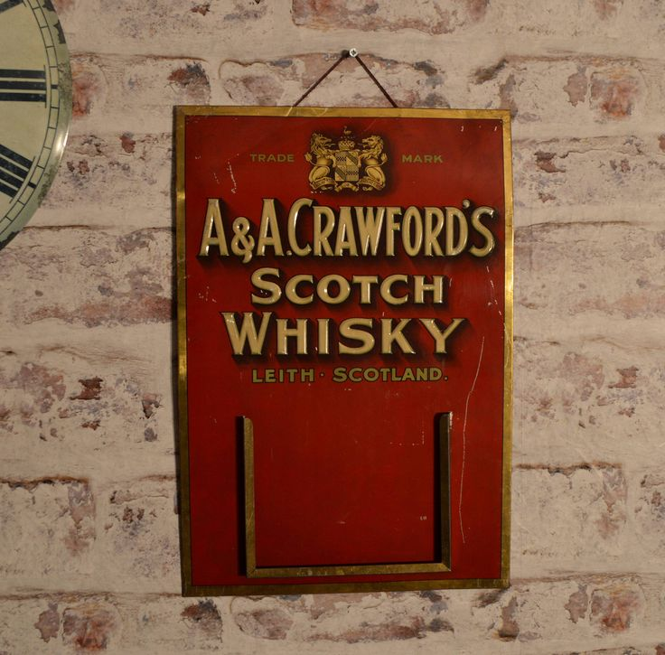A&A Crawford's Scotch Whisky advertising sign, promotional calendar, tin sign, advertising sign, vintage metal sign. Whiskey. by BlueDogEmporiumStore on Etsy