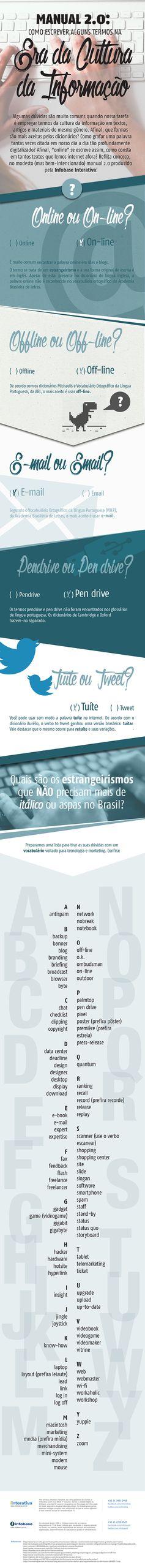Online ou On-line? Infográfico traz uso adequado de expressões da cultura digital http://followthecolours.com.br/just-coolt/online-ou-on-line-infografico-traz-uso-adequado-de-expressoes-da-cultura-digital/