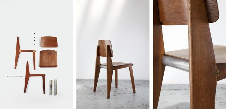 "JEAN PROUVE' Demountable chair ""CB22"" (alu), 1947 Wood, aluminum & steel 78 x 40 x 41 cm 30.71 x 15.75 x 16.14 inches"