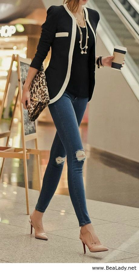 Black and white style with distressed jeans - just the right combination of classic chic and modern for casual work days. Minus the rips and tears