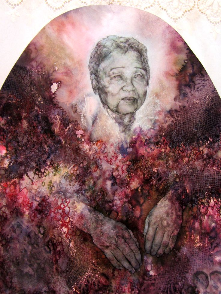 details: grandmother - 'My roots are all sick (Broken Heirlooms)', menstrual blood, earth, incense, mixed media on paper and fabric, 2012.