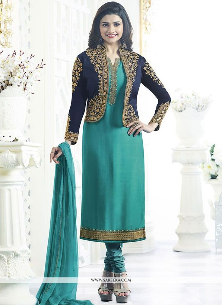 Get the simplicity and grace with this firozi faux georgette Prachi Desai churidar designer suit. The lovely embroidered and resham work throughout the attire is awe inspiring. Comes with matching bot...
