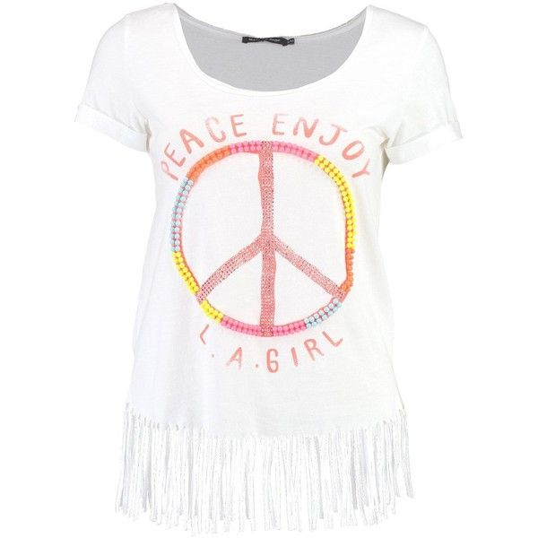 Boohoo Lily Beaded Peace Slogan Fringed T-Shirt ($21) ❤ liked on Polyvore featuring tops, t-shirts, white crop tee, white kimono, white t shirt, off the shoulder crop top and off the shoulder t shirt