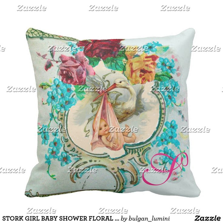 STORK GIRL BABY SHOWER FLORAL Baby Birth Stats Throw Pillow  #flowers #birth #newbaby #animals #babystatus #pillows