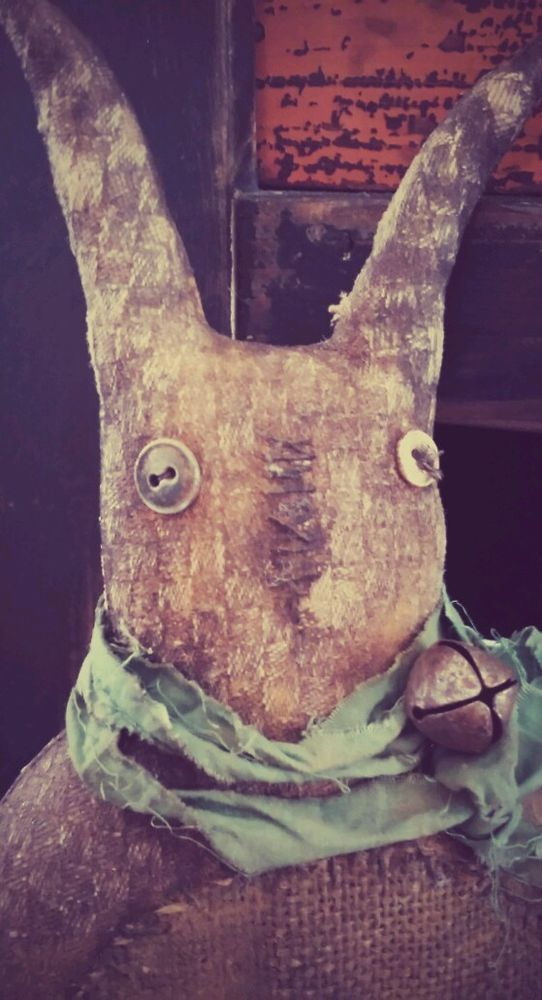 Primitive grungy bunny**Rabbit sitter doll cupboard tuck***