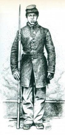 Cathay Williams, also known as Army Pvt. William Cathey, is the first documented African-American female to enlist in the U.S. armed forces. Born a slave in Independence, Mo., she found freedom as a contraband worker for Union soldiers during the Civil War, disguised herself as a man and enlisted in the Buffalo Soldiers after the war.