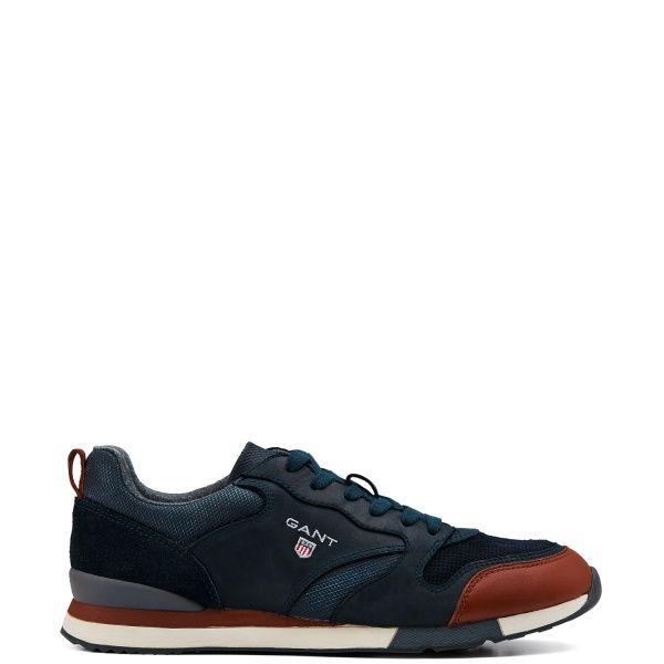 RUSSEL SNEAKERS- Sneakers i skinn med snörning, broderad GANT