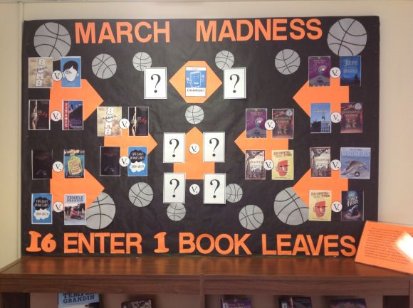 Image of March Madness bulletin board… Sooooo doing this in March, with picture books.  I will read two books, then the students have to write which they like more and why. Book with the most votes move on to the next round.
