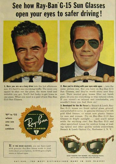 Ray-Ban Vintage 1957 Ad. G-15 Lenses! Classic. Retro. Vintage.