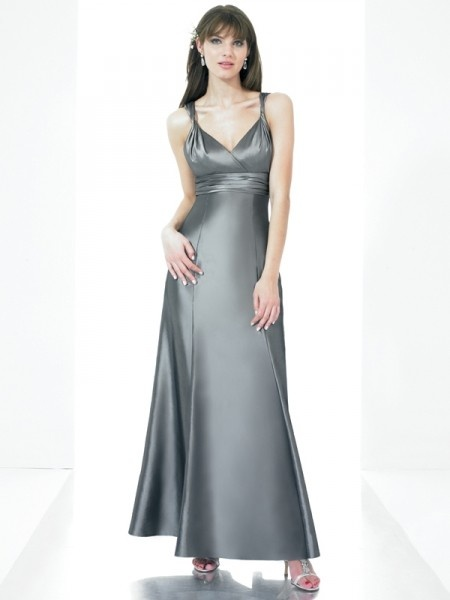 Full Length Sexy Silver Satin V-neckline Bridesmaid Dress. Special long silver dress,with sexy v-neckline .Full length ,a line slim skirt ,sutiable for bridesmaid and wedding guests.