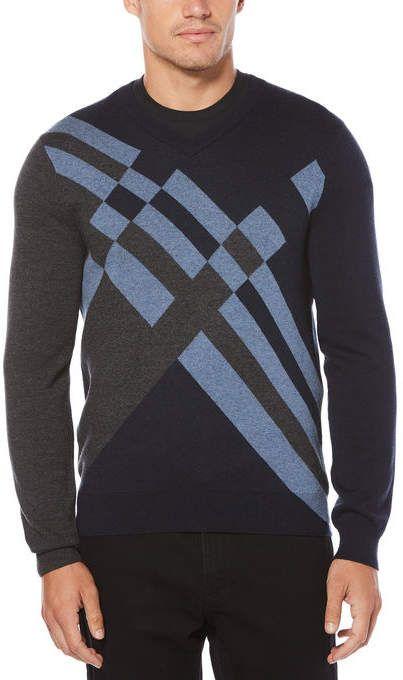 3f0beb5cfe Perry Ellis Big   Tall Multi-Color Modern Argyle Sweater