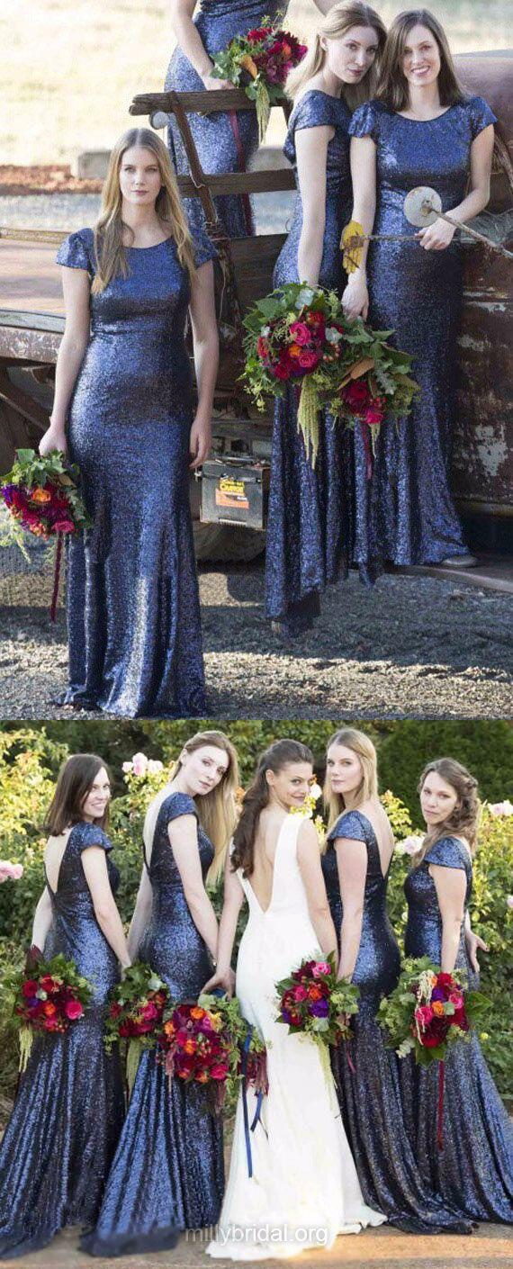 Mermaid Bridesmaid Dresses Long, Blue Bridesmaid Dress Sequined, Short Sleeve Backless Bridesmaid Dresses Scoop Neck Ruffles