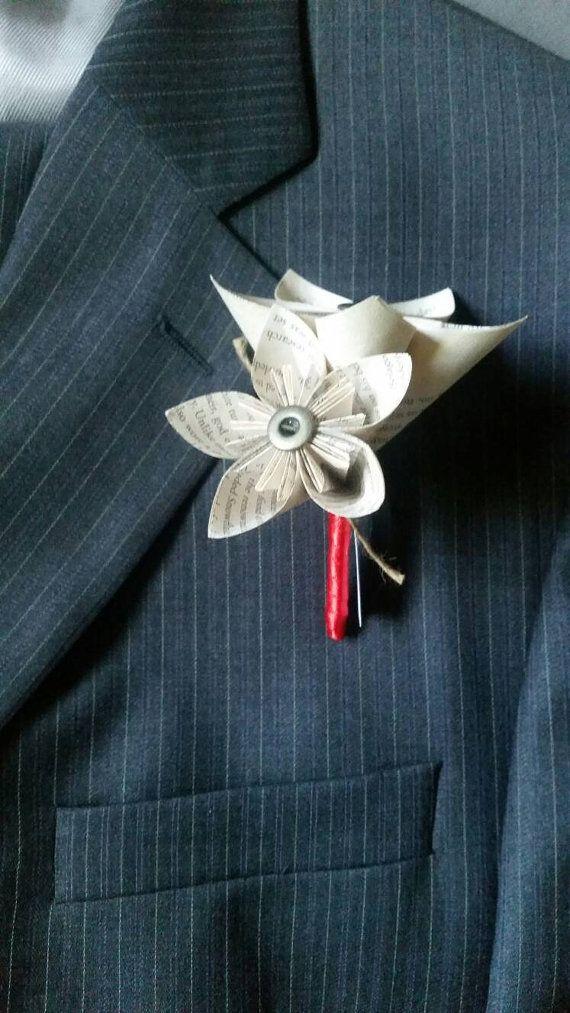 Boutonniere di pagina del libro... origami... di CreeveysCupboard