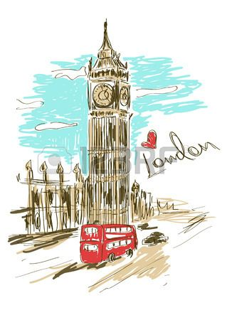 Colorful sketch illustration of Big Ben tower in London Stock Vector
