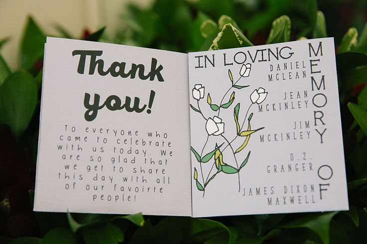 Hand-drawn wedding Ceremony program with memorials and illustrations.