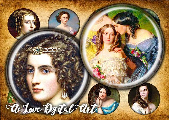Digital collage sheets Vintage Ladies 19th Century download #vintageladiesprintable #bottlecapimages #digitalcollagesheetsvintage