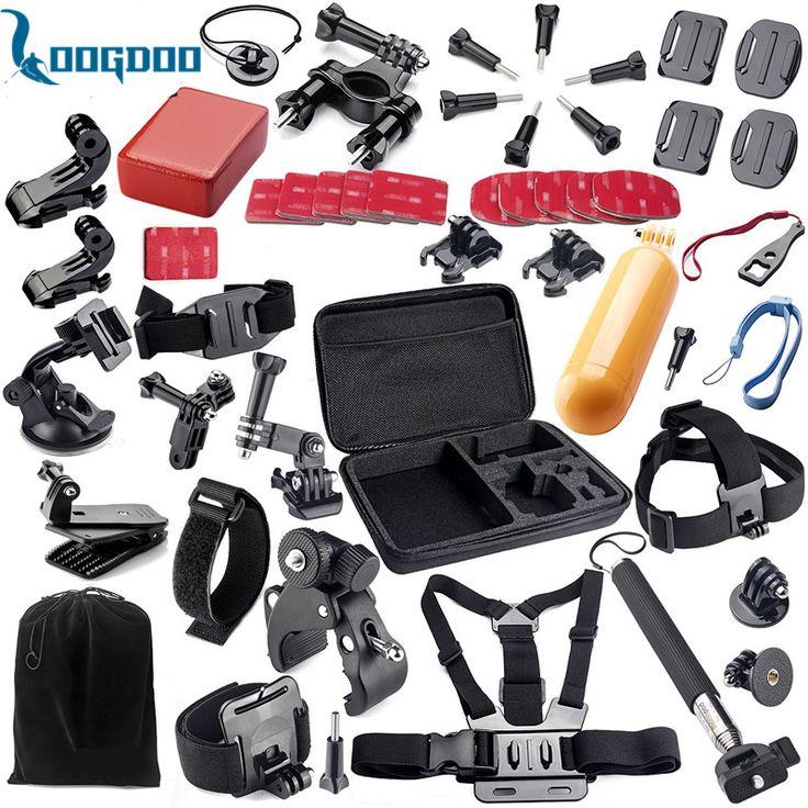 Loogdoo para accesorios gopro hero 5 conjunto casco monte correa adecuada para go pro hero5 5S 4 3 sj4000 sjcam cámara xiaomi yi 2 GS02