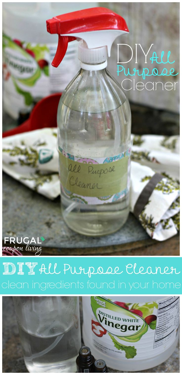 DIY All Purpose Cleaner - Clean Ingredients for Your Home, so easy to make and chemical free. Details on Frugal Coupon Living. Essential Oil Recipe.