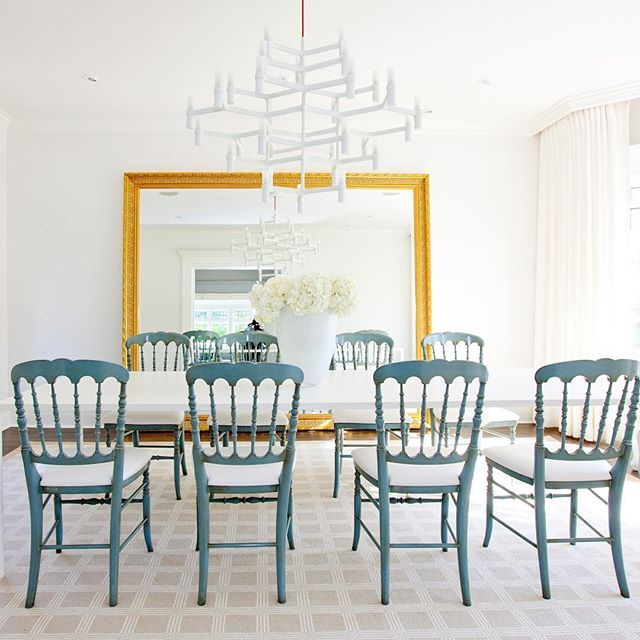 Dining Room Mix, Traditional Blue Dining Chairs, Modern White Chandelier,  Large Mirror,