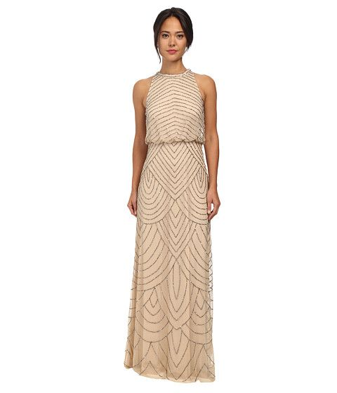 $199 Adrianna Papell Beaded Halter Gown | Zappos.com - color nude - this one is cheaper and doesnt have the thick necklace beading that the other Adrianna Papell halter has