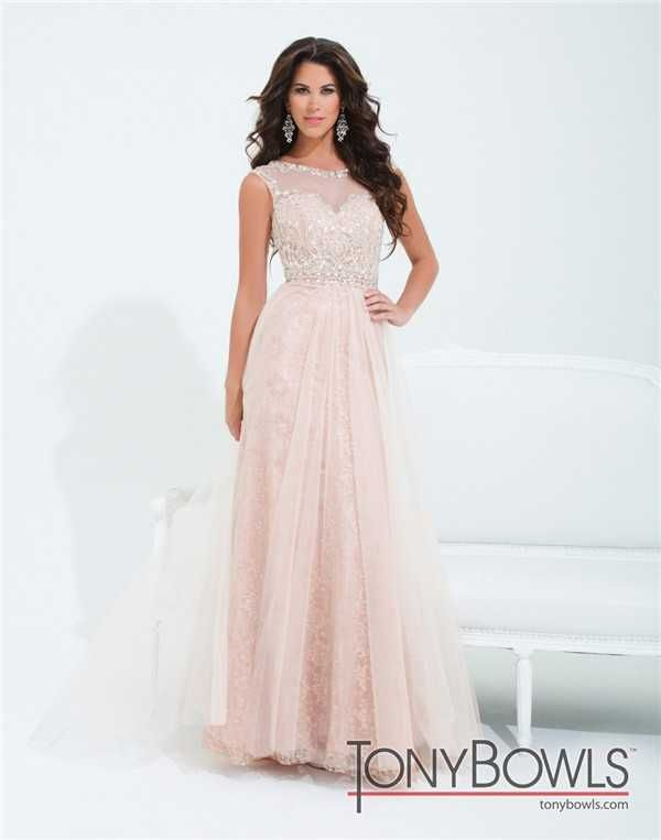 Beaded Lace Tony Bowls TBE11415 Long Prom Dresses 2017