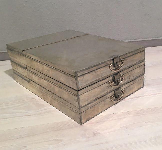 Vintage Tische - 3 alte Bank Schließfach Kassetten No.3*MID CENTURY - ein Designerstück von Mid-Century-Frankfurt bei DaWanda