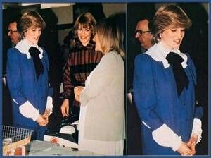 February 11, 1982...Princess Diana In a blue sailor style pregnancy dress...