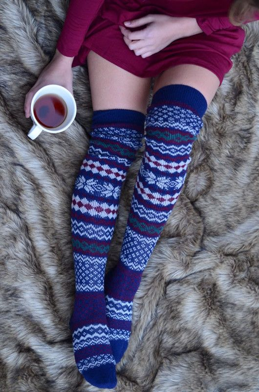 Patterned Thigh High Socks - Navy