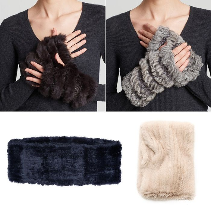 Rank & Style - Jocelyn Rabbit Fur Fingerless Gloves and Infinity Scarf #rankandstyle