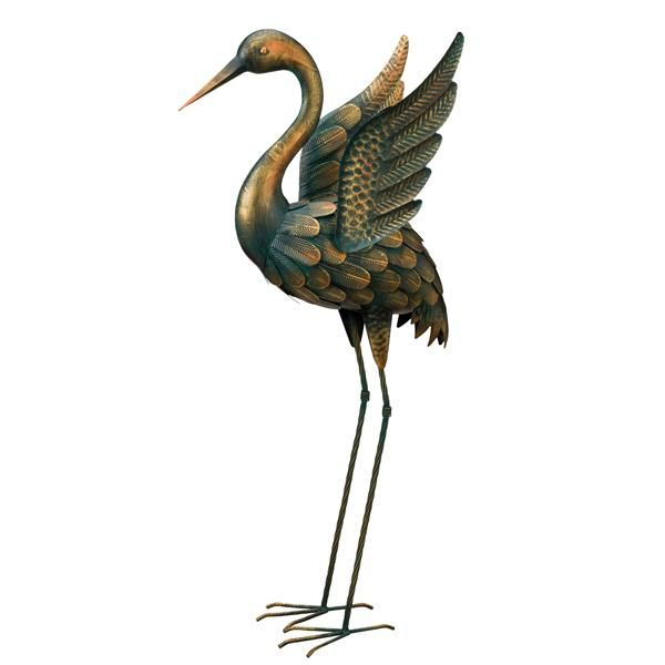 Heron Bird Wings Outstretched Metal Indoor Outdoor Garden Ornament