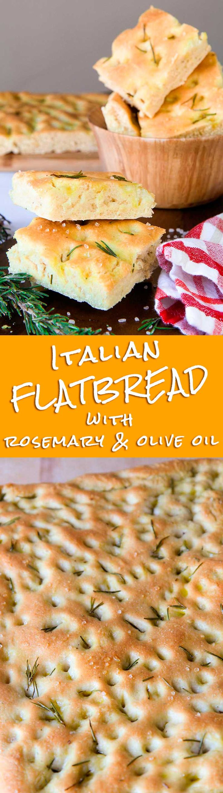 "ROSEMARY FLATBREAD with olive oil (Italian focaccia) - Rosemary flatbread is a Tuscan specialty! In Italy it is called ""focaccia"" or ""schiacciata"". Coarse salt is essential to obtain the characteristic taste and texture. The Italian tradition requires adbundant olive oil. For this reason the quality of the oil is essential to obtain a great ""schiacciata"". I love load my rosemary flatbread with cheese, baked vegetables or cured meats, but it is delicious simply plain as well! - pizza, recipe"