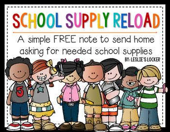 Are your kids running low on school supplies? If yours are anything like mine they tend to lose them or use them up half way through the year. I created this simple freebie to send home to let parents know what is needed. Just print, have your students fill out, and send home.