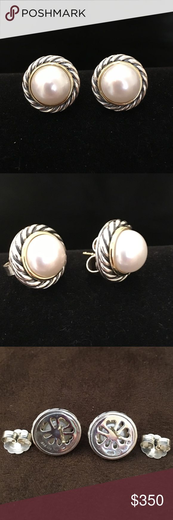 David Yurman SS/18K Mabe Pearl Cable Earrings David Yurman Sterling Silver & 18K Yellow Goldman Mabe Pearl Cable Pierced Earrings.  Never worn. Gold around Pearl with Cable markings around that.  Classic Yurman earrings to wear anywhere anytime! David Yurman Jewelry Earrings