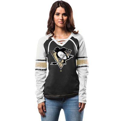 Majestic Pittsburgh Penguins Women's Black Shorthanded Fashion Long Sleeve T-Shirt