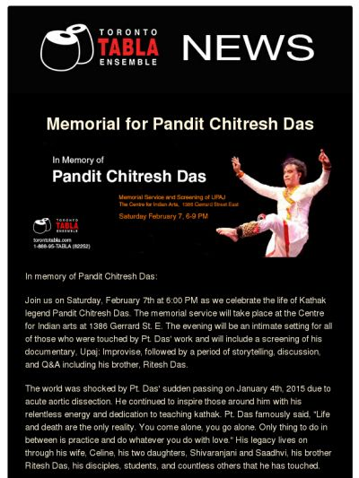 Memorial for Pandit Chitresh Das on February 7th