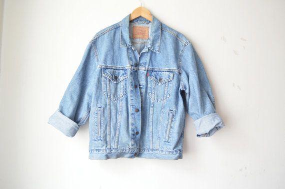 Vintage Levi ist gewaschen Übergröße Jeansjacke 80er Jahre 90er Jahre / / L