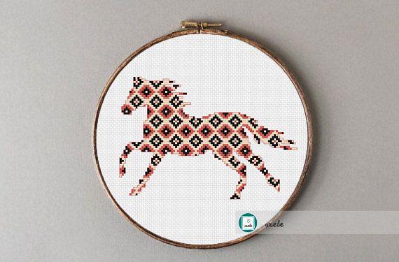 Modern cross stitch pattern geometric horse PDF  instant