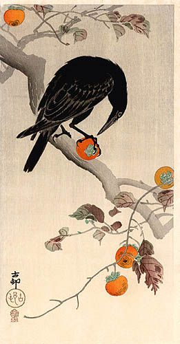 hanga gallery . . . torii gallery: Crow Eating Pomegranate by Ohara Koson
