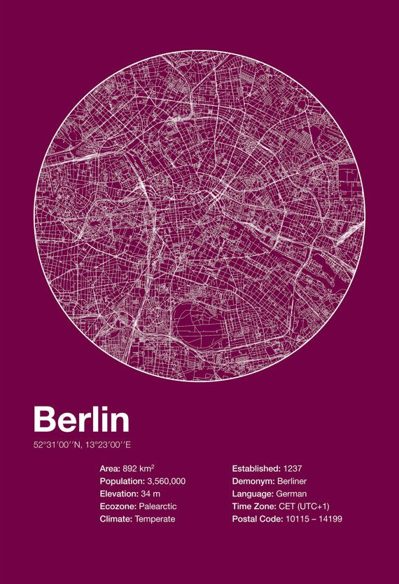 Street Map Art City Print – Berlin, Germany – Minimalist Map of Berlin Poster Infographic Swiss Style Helvetica Modernist Print