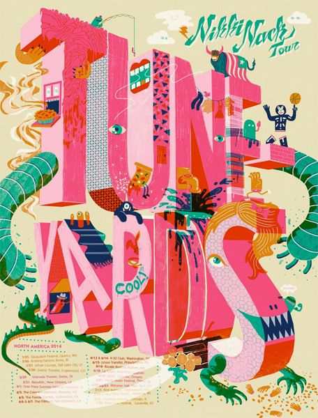 Tune-yards gig poster by Burlesque of North America