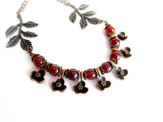 Agate copper necklace gemstone floral choker stone copper