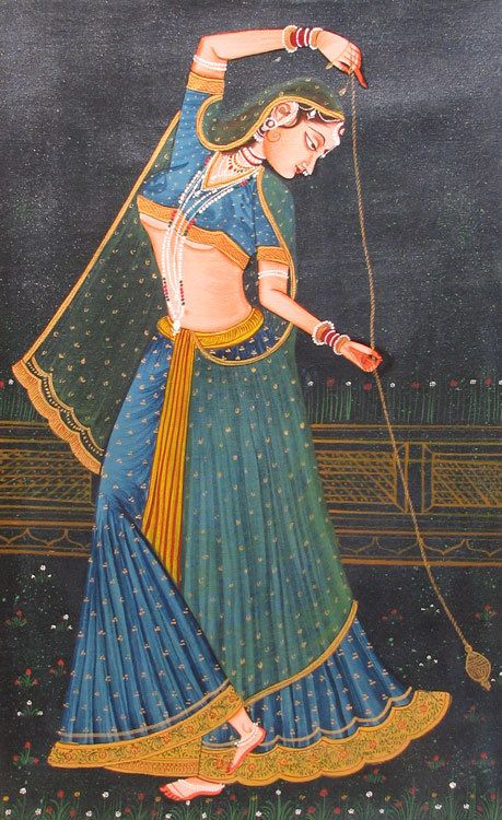 India - Rajput Princess Playing with a Top - Miniature Painting from Rajasthan