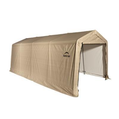 "Auto Shelter, 1-3/8"" 5-Rib Peak Style Frame, Sandstone Cover 10X20 Portable Garage for $329.99 #StorageShelters #CozyDays"