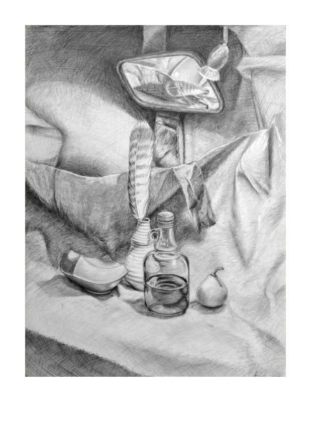 The bottle, the feather and the mirror #bottle #feather #mirror #pencil #pencildrawing #academic #art