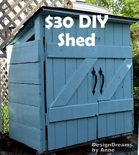 Build a mini shed to hide your trash cans or store your gardening tools!  See how to build a shed for $30 - click here for more details