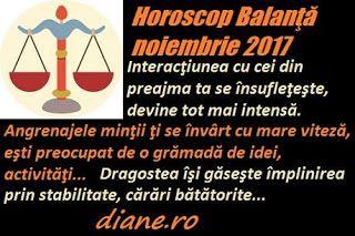 Horoscopul Balanţei noiembrie 2017 lasă să se întrevadă o relaţionare efervescenţă cu oameni din diferite medii sociale, posibilitatea de a ...