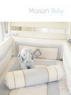 Kit Berço Provençal Ramos e Coroa - Maison Baby (6 peças) Crib set. #maisonbaby #kitberço #cribset