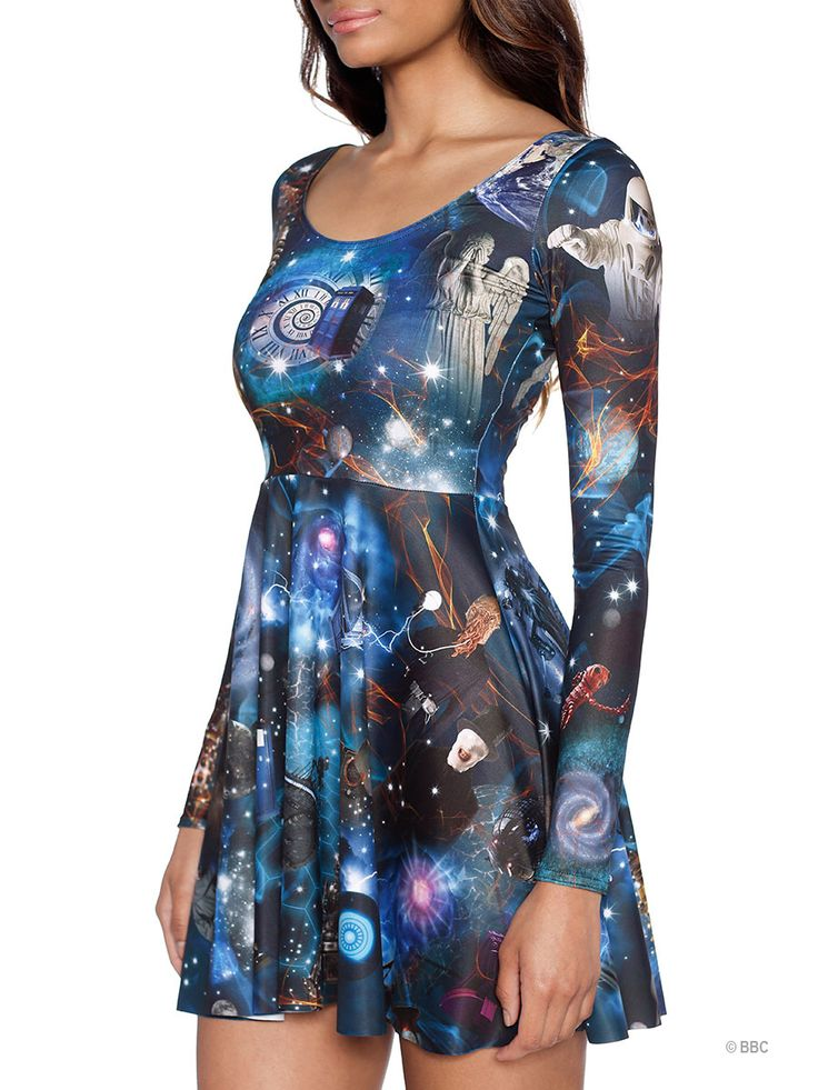 Dr Who Mash Up Long Sleeve Skater Dress (WW ONLY $110AUD) by Black Milk Clothing