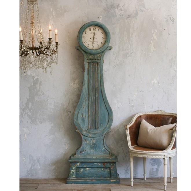 Antique Swedish Mora Clock In Aged Teal Clock Painting Swedish Interiors Clock